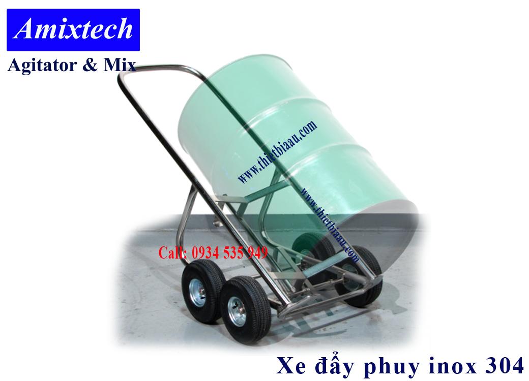 xe đẩy thùng phuy bằng inox